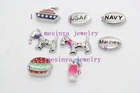 Wholesale 80pcs designs navy marines carrier USAF baby dog hamburger floating charms for glass memory floating locket Xmas gift no locket