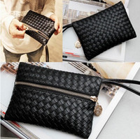 Women Plain PU HOT Faux Leather Womens Black Embossing Clutch Party Bag Purse fit Cellphone NEW 6pcs lot [CWYE0313*6]