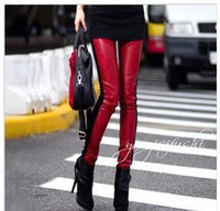 Women Skinny,Slim Washed 2013 winter new maroon velvet black butterfly embroidery fight was thin leather leggings leather pants feet pants