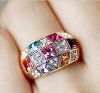 Wholesale women spring Korean Luxurious Diamond Ring Colorful Crystal Ring female Gypsophila Band Rings