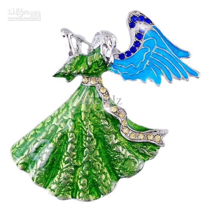 New fashion green angel christmas brooch