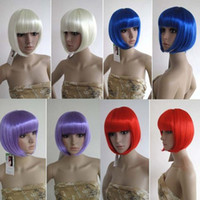 Wholesale 1PC Vogue Girl Dance Party Bright Colorful BOBO Cosplay Wig Costume Dress Short Wig colors U pick CWYE0399