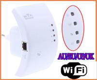 al por mayor amplificador de señal wifi gratuito-Amplificador de la gama del ranurador de la red del repetidor 802.11N / B / G de Wireless-N Wifi Antenas de las antenas de 300M 2dBi Envío de la gota libre de los impulsores de la señal