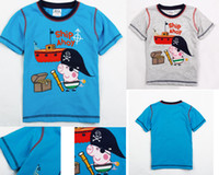 Wholesale Christmas Nova baby boys clothing peppe pig striped summer cotton short sleeve t shirts