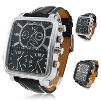 Wholesale V6 Superspeed Triple Time Zones Watch Quartz Movements Analog Men s Business Luxury Square Face Sport Black Leather Wristwatch