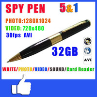 Wholesale HD P SPY PEN CAM CAMERA VIDEO USB DV DVR RECORDING HIDDEN FPS AVI PACKED BY RETAIL BOX JBD B2