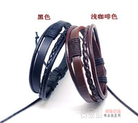 Wholesale New arrival Vintage punk Multilayer hemp Braided Real Leather Bracelets lovers stylish Men women