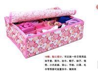 Wholesale 12 grid covered storage box underwear bra underwear socks finishing woven floral clothing storage