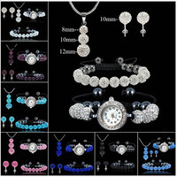 Wholesale MIX COLORS SHAMBALLA Beads Bracelet set Bead ball Watch Bracelets Bead Pendant Necklace sets silver Stud Earrings Set