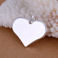 Wholesale 925 Silver Charms Pendants Jewelry Sterling Silver Glossy parallel Heart Pendants High Quality Hot Sale
