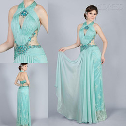 Wholesale Wow Sexy Light Green Halter Lace amp Diamond Embellished See Through Pageant Dress Prom Dress Ball Gown