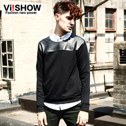 Wholesale Cool Crew Neck Sweatshirts Black VIISHOW Long Sleeve Mens Sweatshirts PU Shoulder Yoke Casual Mens Dress Slim Fit Pullover Mens Top WD008