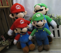"Unisex 12-14 Years Video Games Wholesale - Free Shipping 17"" New Super Mario Bros. Stand MARIO & LUIGI 2 pcs Plush Doll Stuffed Toy Retail &"