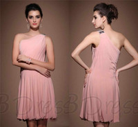 A-Line Chiffon Sexy Unique design a line mini short pink chiffon one shoulder beads sequins sexy homecoming dresses cheap party dresses discount cocktail dress