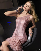 Wholesale High quality Party Dresses Sheath Column One shoulder Beading Mini short Stretch satin Cocktail Dresses With Feathers