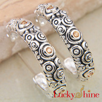 antique offering - 2015 Special Offer Hot Sale Ear Cuff South American Gift Party Sterling Silver Charms Earrings Round Natural Antique Orange Zircon E0576