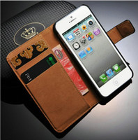 Leather For Samsung For Christmas Genuine Leather Wallet Stand Design Case for iPhone 5 5S 5G Luxury Phone Bag Covers Book with Card Holder, free shipping
