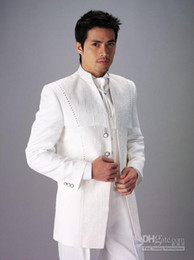 Wholesale Custom Design Size and Color Groom Tuxedos White Best Man Groomsman Men Wedding Suits Prom Form Bridegroom Jacket Pants Tie Vest Hanky J70