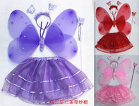 Wholesale Double angel feather butterfly wings set of dance costumes retail
