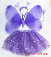 Wholesale Double angel feather butterfly wings set of dance costumes