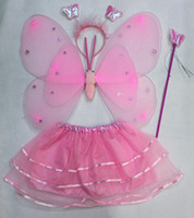 Wholesale Double angel feather butterfly wings set of dance costumes EMS
