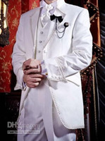 Men Pant Suit Formal New Style One Button Diamond Groom Tuxedos White Best Man Groomsman Men Wedding Suits Prom Form Bridegroom (Jacket+Pants+Tie+Vest) J67