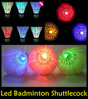 Wholesale Dark Night Colorful LED Badminton Shuttlecock Birdie Lighting Goose Feather Outdoor LED Badminton Shuttlecock good quality DHL LED36