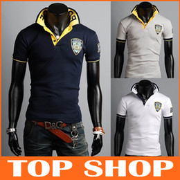 Wholesale Fashion Polo T shirts Mens Short Sleeve Color L XXL Cotton Embroidery NYPD New York Police Department Summer Slim T shirt