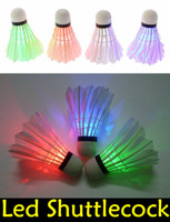 Wholesale Dark Night Colorful LED Badminton Shuttlecock Birdie Lighting Goose Feather Outdoor LED Badminton Shuttlecock EMS free LED36