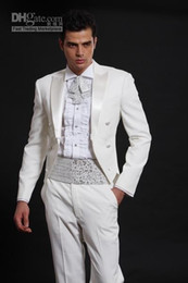 Wholesale Tailcoat Groom Tuxedos White Peak Satin Lapel Best Man Groomsmen Men Wedding Suits Prom Formals Bridegroom Suit Jacket Pants Tie Girdle J26