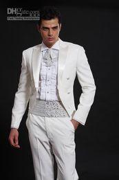 Wholesale Tailcoat Groom Tuxedos White Peak Satin Lapel Best Man Groomsmen Men Wedding Suits Prom Formals Bridegroom Suit Jacket Pants Tie Girdle J26