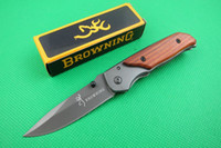 Wholesale New Free Hongkongpost Browning Folding blade knife wood handle outdoor gear hunting pocket camping hiking knife knives tools New in