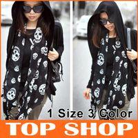 Chiffon poncho shawl - Scarves Wraps Chiffon Skull Scarfs CM CM Printing Shawl Color SS0034