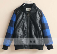 Wholesale Kids Leather Jackets Child Clothing Long Sleeve Coat Boys Jackets Children Outwear Fashion Casual Plaid Jacket Kids Clothes Boys Outerwear