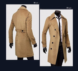 Wholesale new fashion winter thickening cashmere coat mens outerwear woolen slim overcoat mens overcoat colors