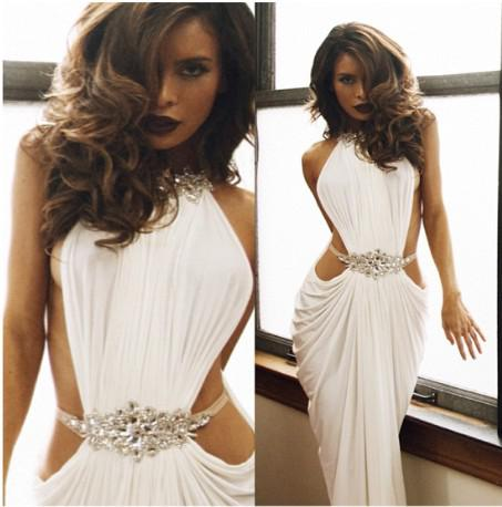 2013 Sassy Goddess Evening Gowns Halter Beaded Crystal ...
