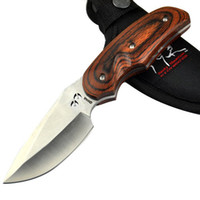 Wholesale New BUCK Rocky mountain Elk Foundation Survival Knife C Steel HRC hunting knife camping knife knives With