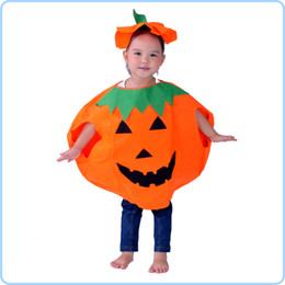 Wholesale The Halloween Children Cosplay Clothes Christmas New Year Pumpkin Clothes Hats Bag Pumpkin Decoration Children Perform Suits