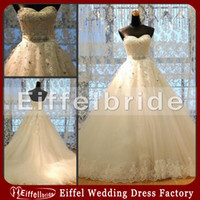Chapel bridal gown wedding dress - Real Image Ball Gown Wedding Dresses with Sweetheart Neckline Lace Up Back Bridal Gown Crystals Appliques Tulle A Line High Quality Gown