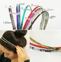 Wholesale shiny colorful multi color option bangs Hairband tie hair hoop tools Maker band forehead hair decoration head