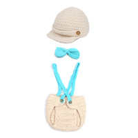 Wholesale New Beige Baby Cartoon Animal Toddler Beanie Costume Set Newborn Photograph Props Hat Clothes Suit XDT7