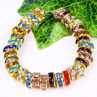 Wholesale 6MM Wheel shaped Crystal Spacer Beads Gold Plated Mixed Color Rhinestones Gem Findings