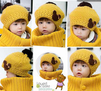 Wholesale Scarfs Bear For Kids - Children Crochet Caps Cute Bear Winter Knit Hat Crochet Beanie Hat For Baby Kids With Scarf 2Pcs Set T90005