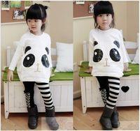 Wholesale 2pcs girls lovely panda outfits long sleeve t shirt leggings sets children suits kids autumn clothing fashion garment dkagmy