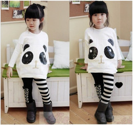 Wholesale girls popular outfits panda long sleeve t shirt leggings sets children suits cool garment kids lovely costume autumn clothing dkagmy