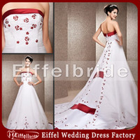 Chapel red and white strapless wedding dresses - Red and White Strapless Wedding Dresses with Graceful Embroidery