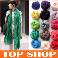 Wholesale Women Soft Super Long Crinkle Scarves Wraps Shawls Stole Fashion Multicolor Punk Scarf Color Scarf132