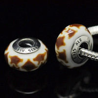 Wholesale 5pcs Sterling Silver Oxidized Screw African Giraffe Murano Glass Beads Fit Pandora Bracelets