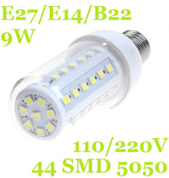 E27 E14 B22 9W 44 Leds Chip SMD5050 Led Corn Bulb With Cover Cool Warm White 580LM 360 degree Led Spot Light 110V 220-240V