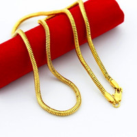 Wholesale 3MM inches K gold plated snake chain necklace fashion jewelry Top quality Christmas gift